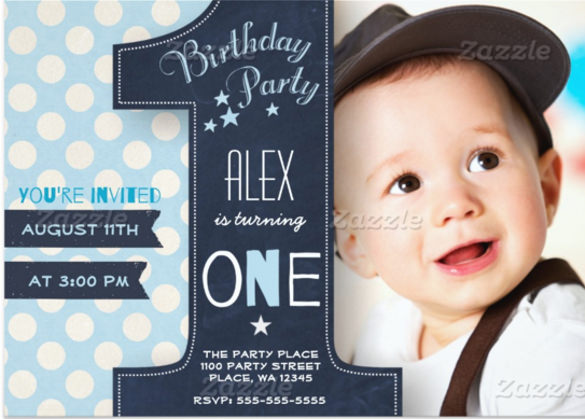 baby birthday invitation template ; First-Birthday-Party-Invitation-Boy-Chalkboard