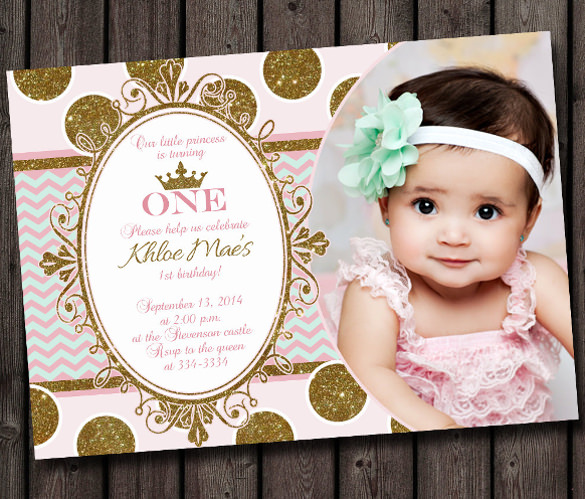 baby birthday invitation template ; first-birthday-invitation-pink-and-gold-mint-chevron-modern-princess-invitation