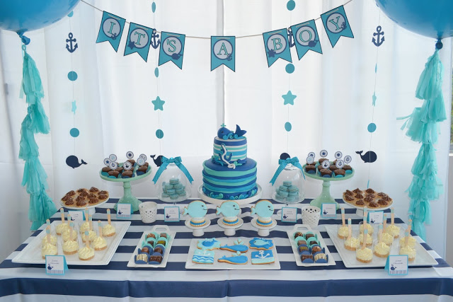 baby birthday party themes ; 4-Boys-Blue-Whale-Baby-Shower-Ideas