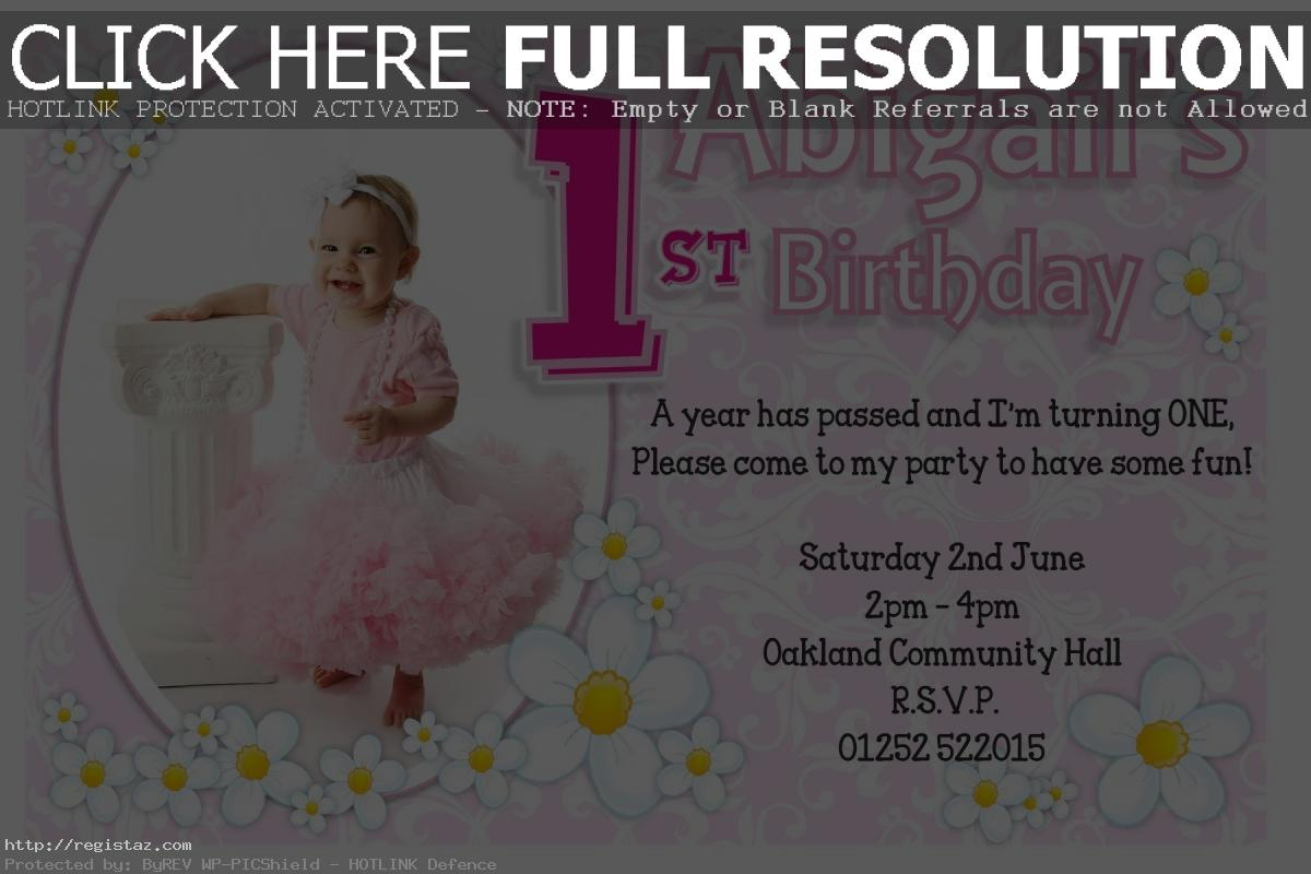 baby girl 1st birthday card messages ; Baby-Girl-pink-with-flower-Baby-First-Birthday-Party-Invitations
