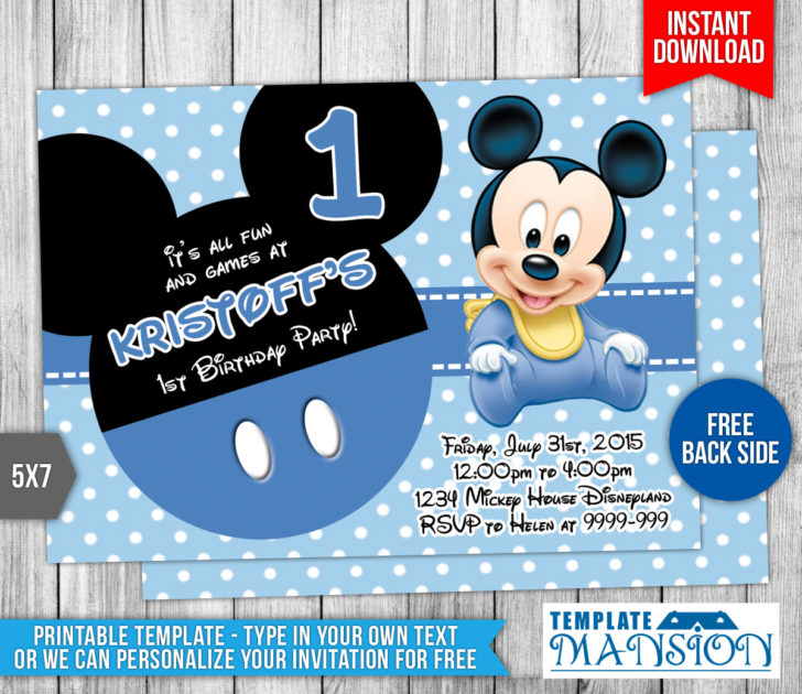 baby mickey mouse 1st birthday printable invitations ; 5f46860977c3e51fe42201c40908d8ab