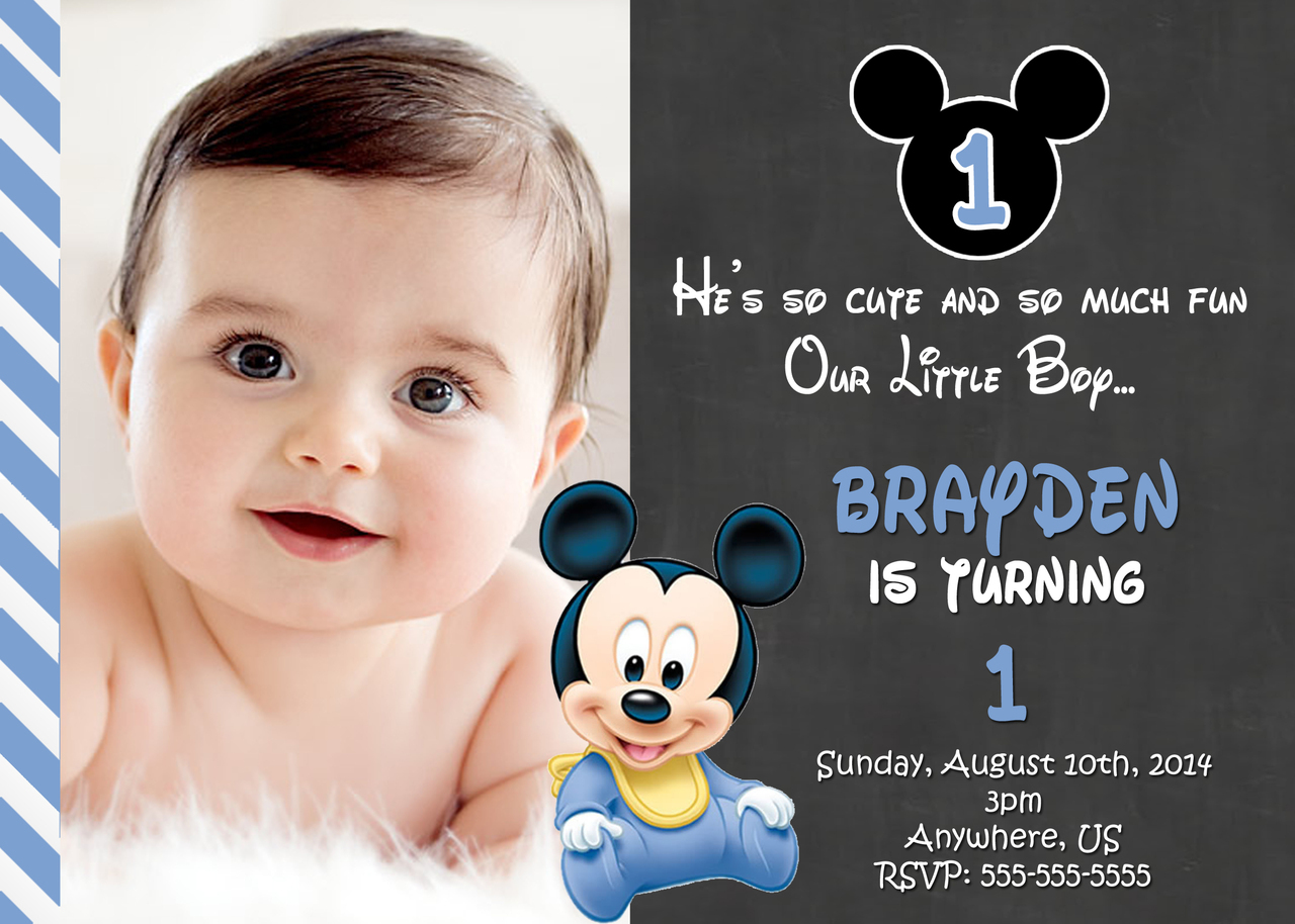 baby mickey mouse 1st birthday printable invitations ; Chalkboard-Mickey-Mouse-1st-Birthday-Invitation-Ideas