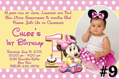 baby mickey mouse 1st birthday printable invitations ; baby-minnie3