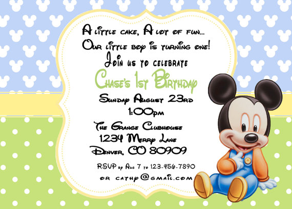 baby mickey mouse 1st birthday printable invitations ; il_570xN