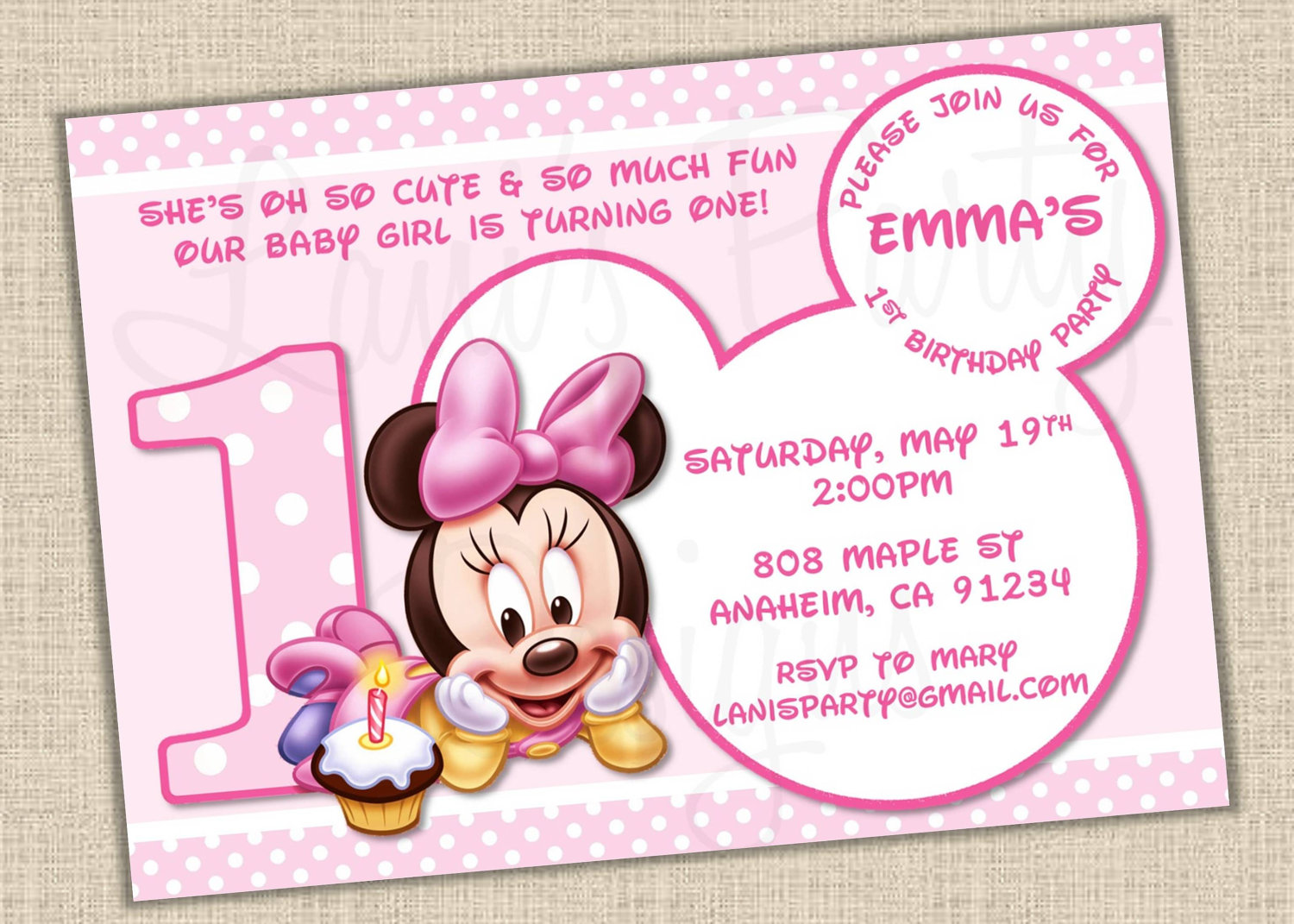 baby mickey mouse 1st birthday printable invitations ; minnie_mouse_1st_birthday_invitations_2-1