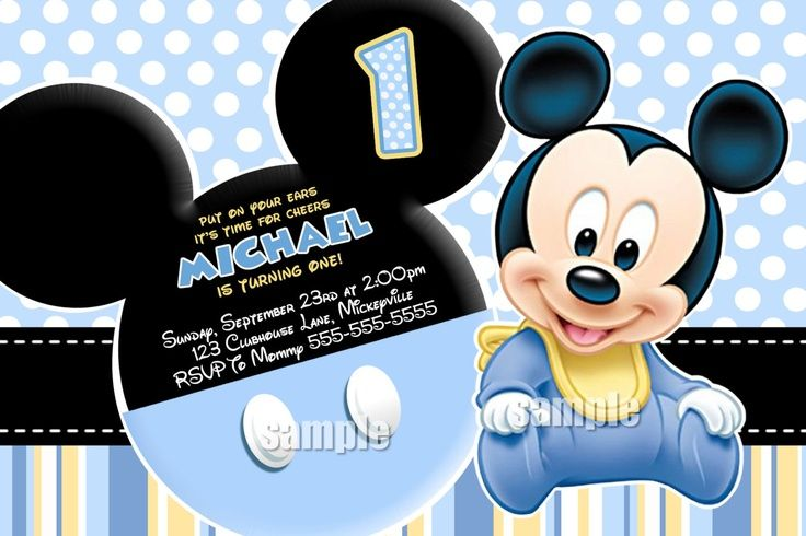 baby mickey mouse photo birthday invitations ; 7500d99a16c76ab78f02b96412ad93d3