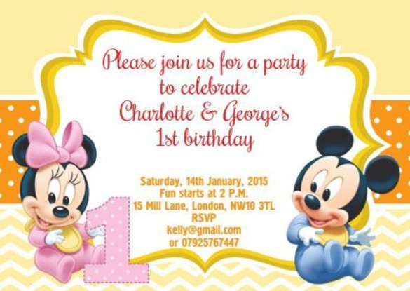 baby mickey mouse photo birthday invitations ; Personalised-Birthday-Invitations-BABY-MICKEY-MINNIE-MOUSE