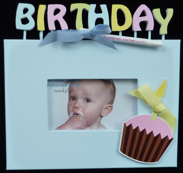 baby's first birthday picture frames ; autograph-birthday-frame
