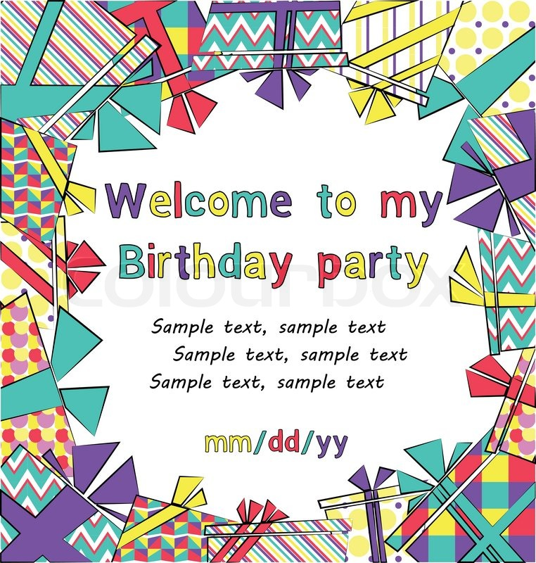 background birthday invitation ; 10860532-vector-colorful-birthday-invitation-card-with-gift-boxes-in-different-wrappings-on-background