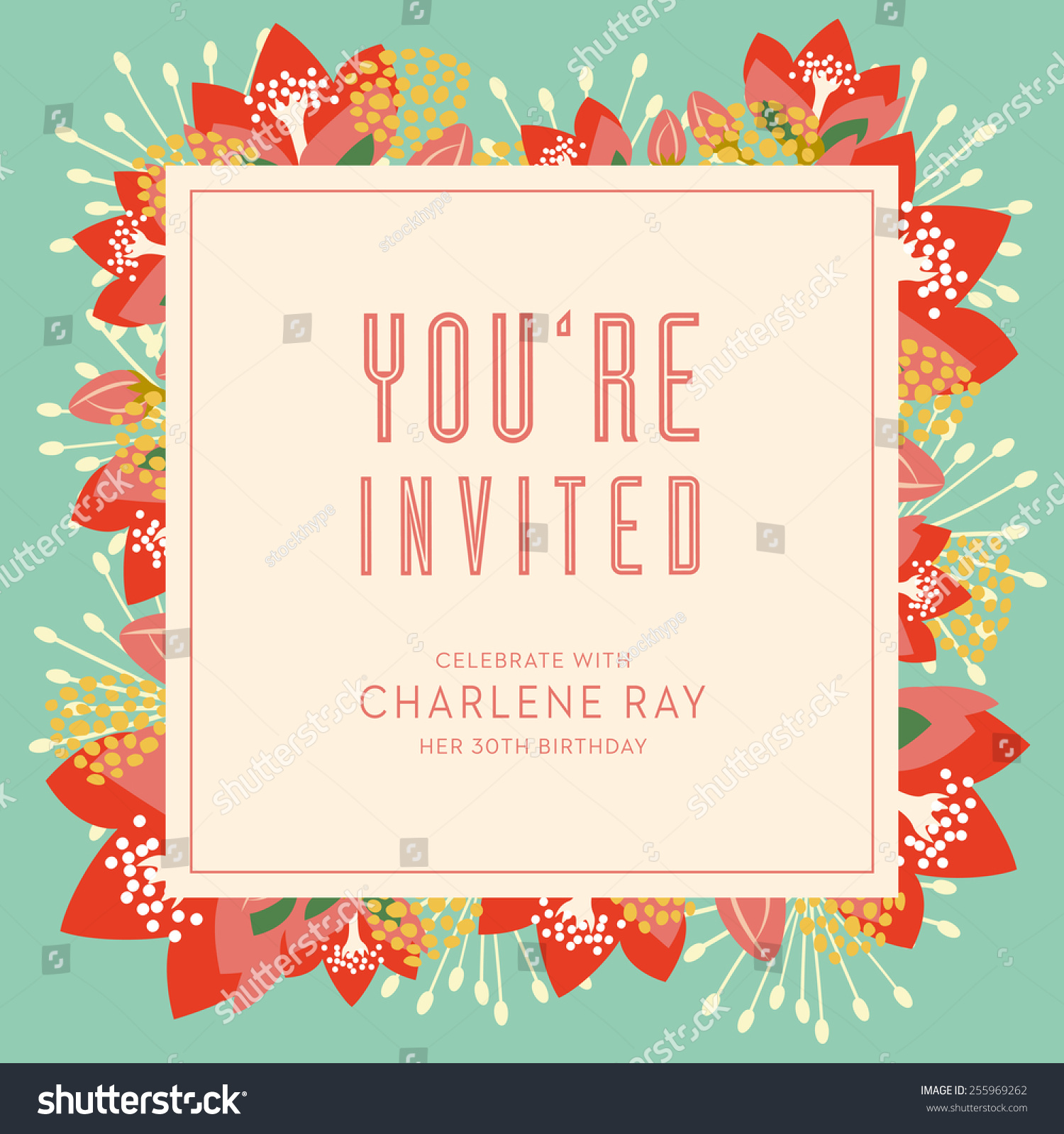 Background Birthday Invitation Stock Vector Card With