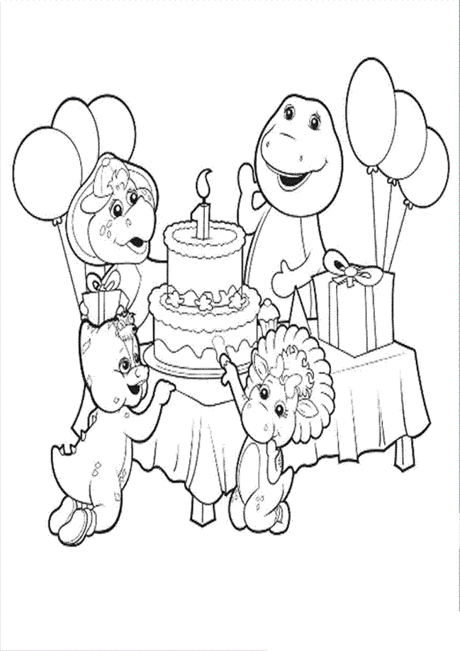 barney birthday coloring pages ; 209af12a7d9924b16effcc60b3a44acf