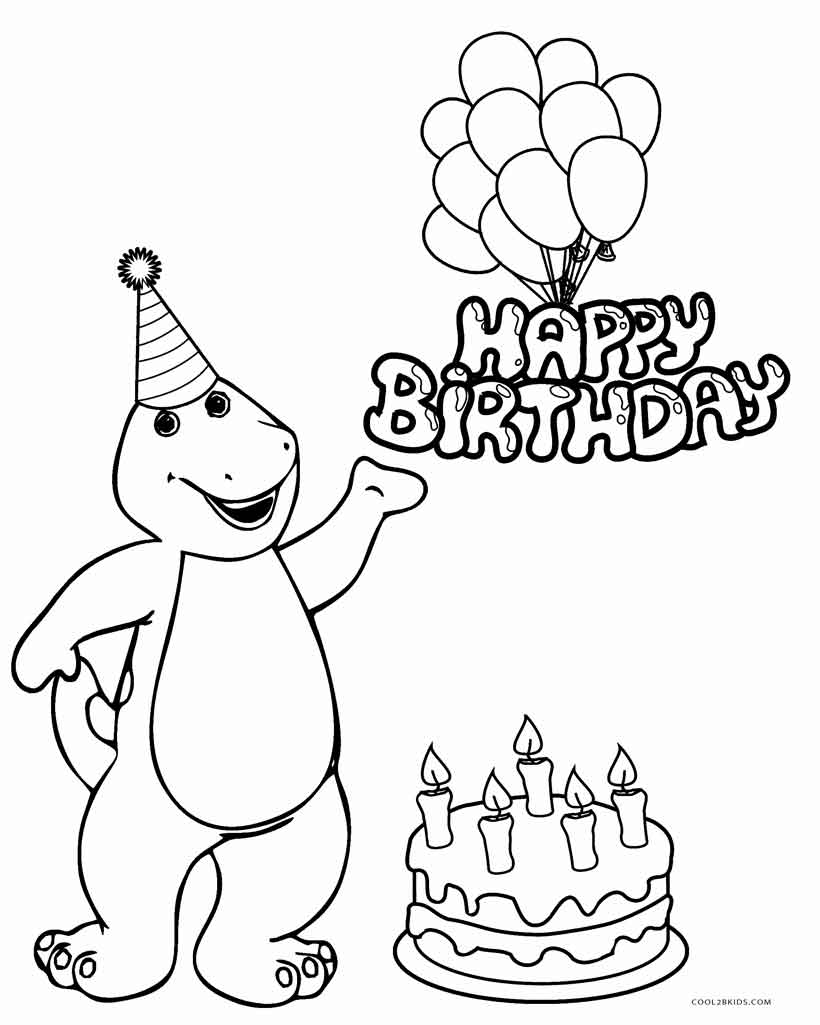 barney birthday coloring pages ; Barney-Birthday-Coloring-Pages