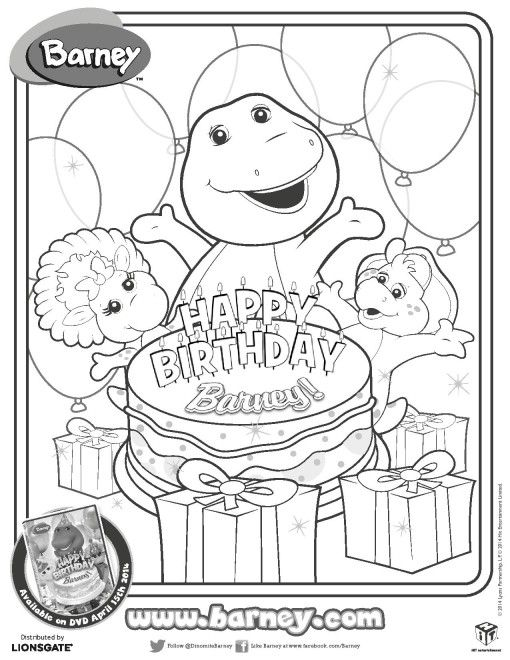 barney birthday coloring pages ; f33962d58255a449250c8d6a3ddb4512--barney-birthday-party-barney-party