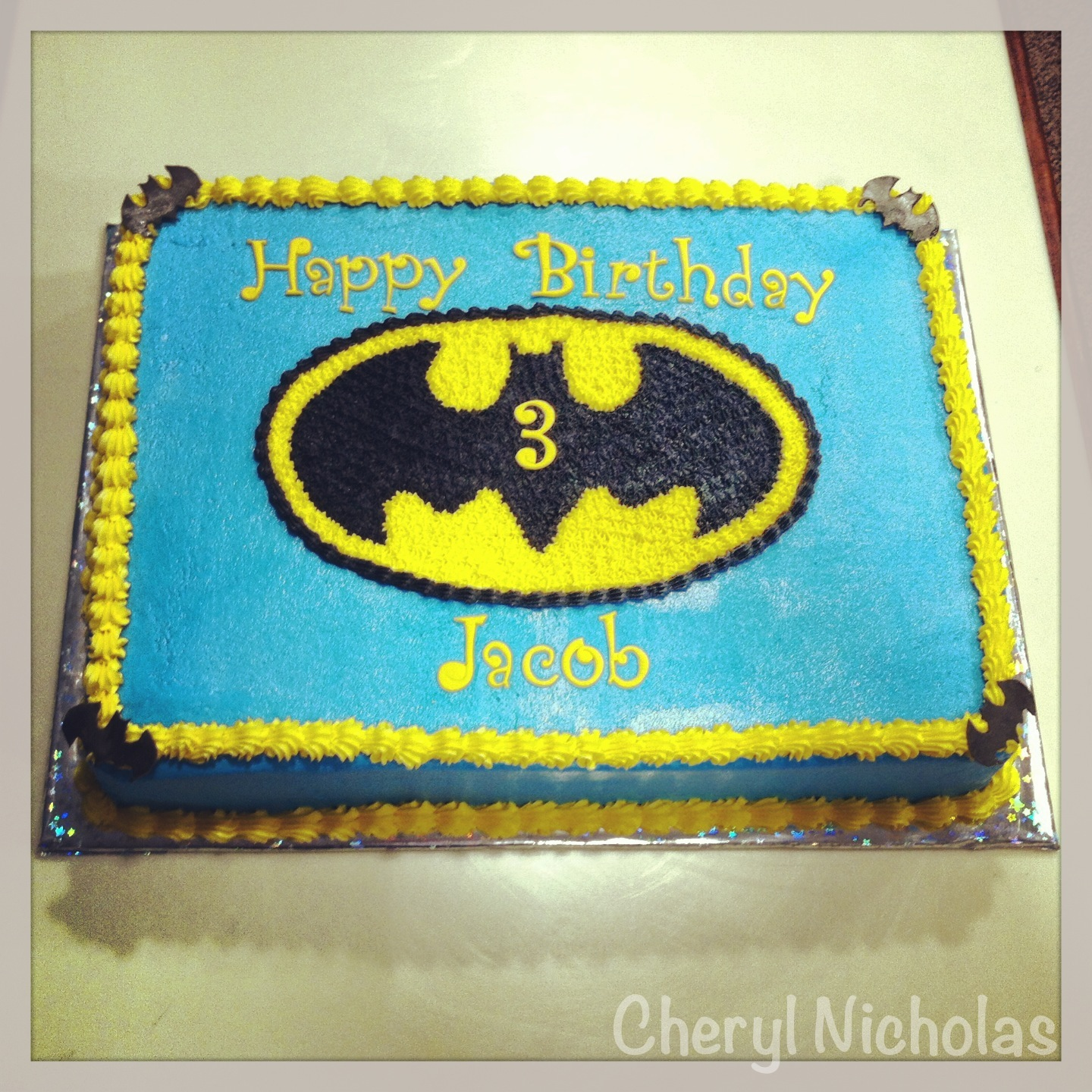 batman birthday sheet cake ; 2d2e5f5bf6632f1a50dec3b604d827b0