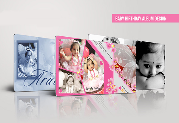 birthday album design ; Baby-Birthday-Album-Template