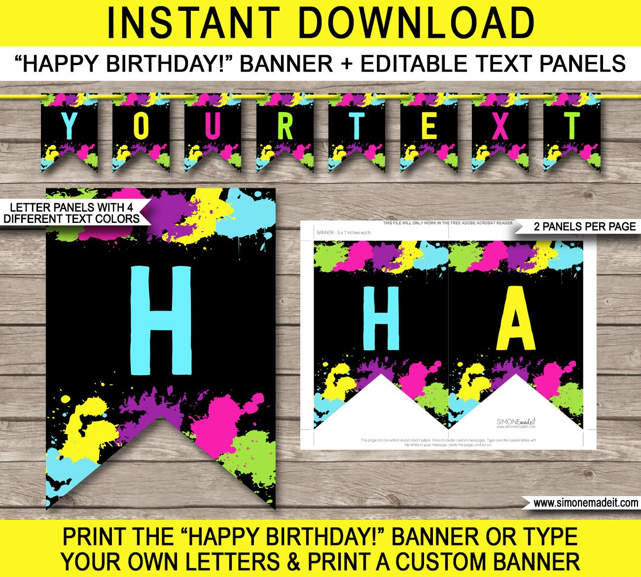 birthday banner messages ; Glow-Banner-Template-Happy-Birthday-Banner-editable-text