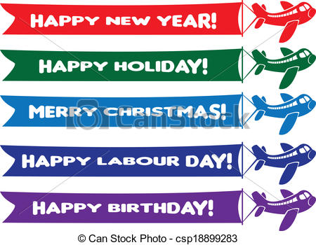 birthday banner messages ; planes-with-flying-banners-with-eps-vector_csp18899283