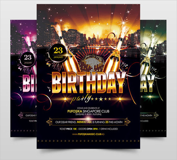 birthday banner psd templates free download ; Birthday-Party-Poster-Template