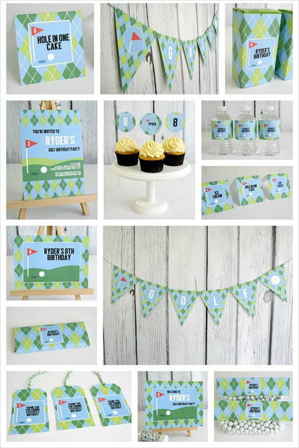 birthday banner psd templates free download ; Editable-Golf-Birth-Day-Party-Pack-and-Invite-Banner-Template1
