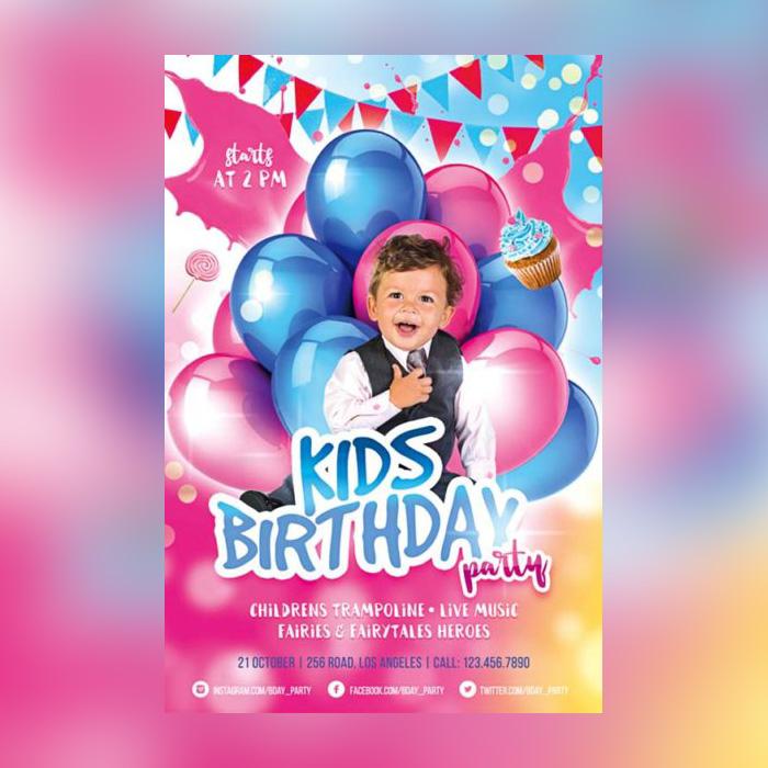 birthday banner psd templates free download ; Kids-Birthday-Party-Free-Flyer-Template-1