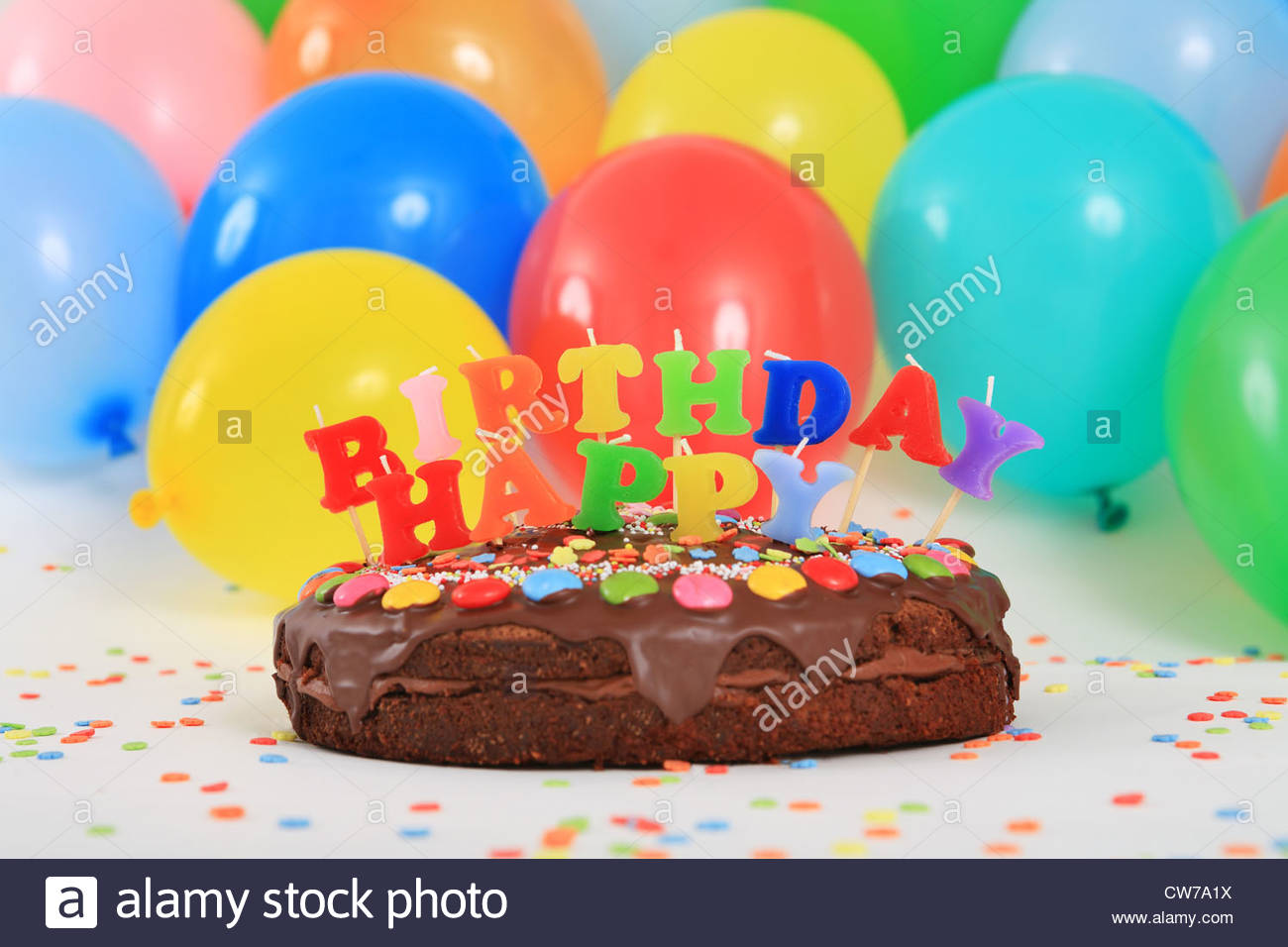 birthday cake balloons picture ; happy-birthday-chocolate-cake-with-candles-and-balloons-CW7A1X