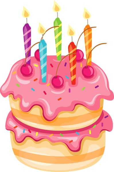 birthday cake candles clipart ; birthday-cake-pink-cake-with-candles-clipart-a