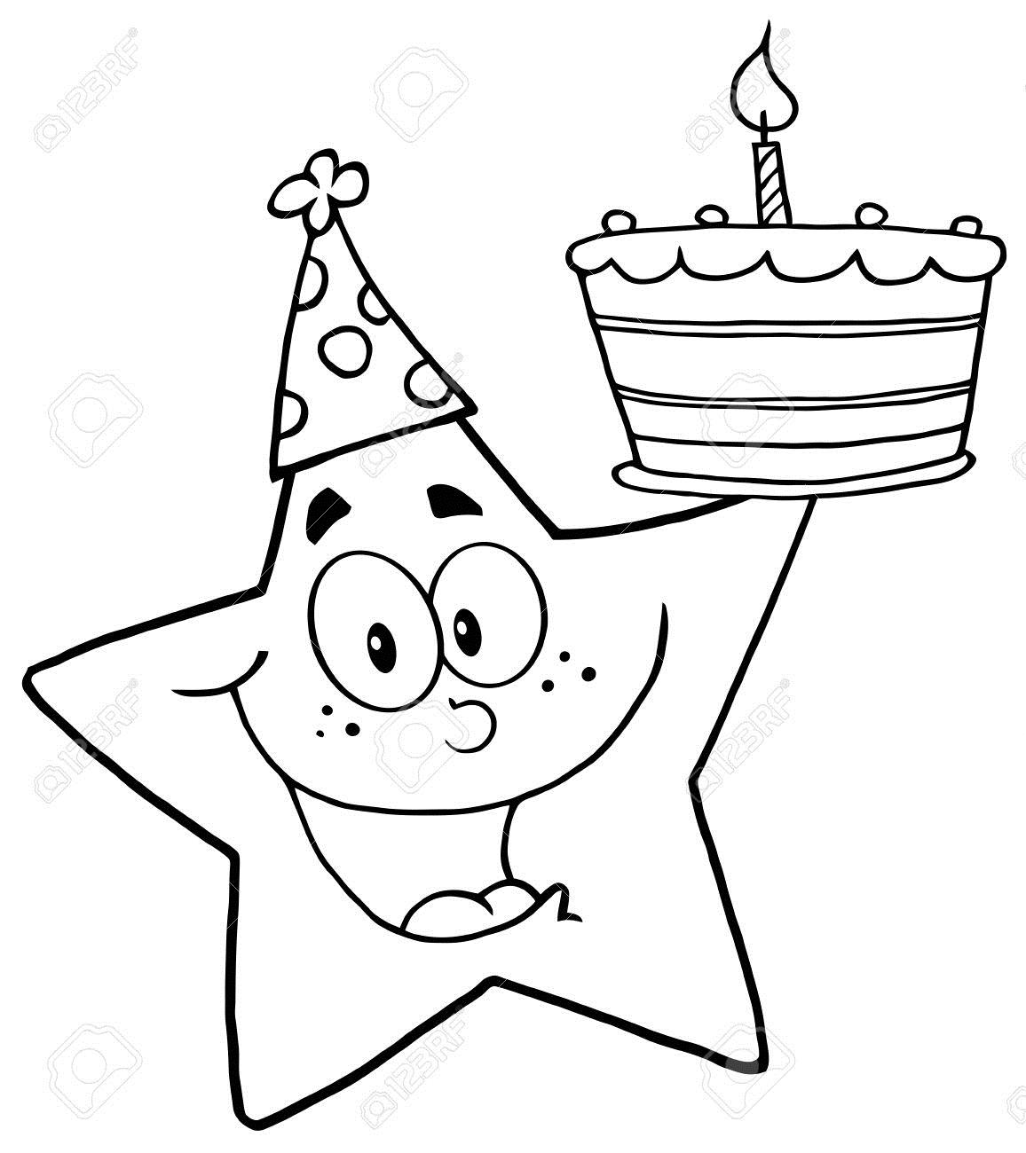 birthday cake cartoon drawing ; birthday%2520cartoon%2520drawings%2520;%252012493515-outline-happy-star-holding-a-birthday-cake