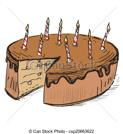 birthday cake cartoon drawing ; birthday-cake-with-candles-illustration_csp20663622