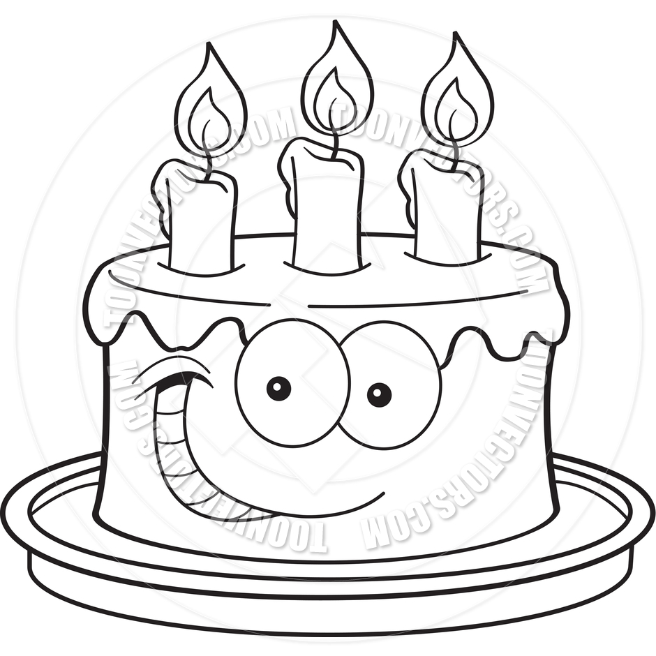 birthday cake drawing cartoon ; cartoon-cake-drawing-cartoon-cake-with-candles-black-and-white-line-artkenbenner
