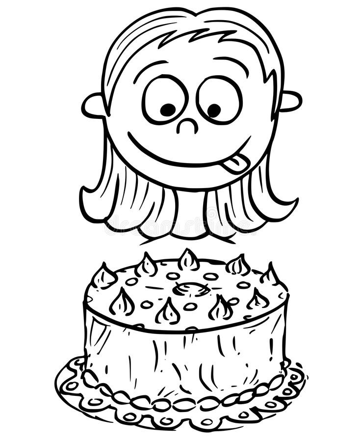birthday cake drawing cartoon ; cartoon-illustration-girl-looking-birthday-cake-hand-drawing-vector-96644047