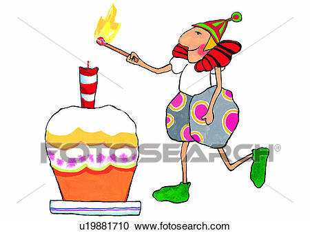 birthday cake on fire clipart ; cake-match-fire-watercolor-stock-illustrations__u19881710