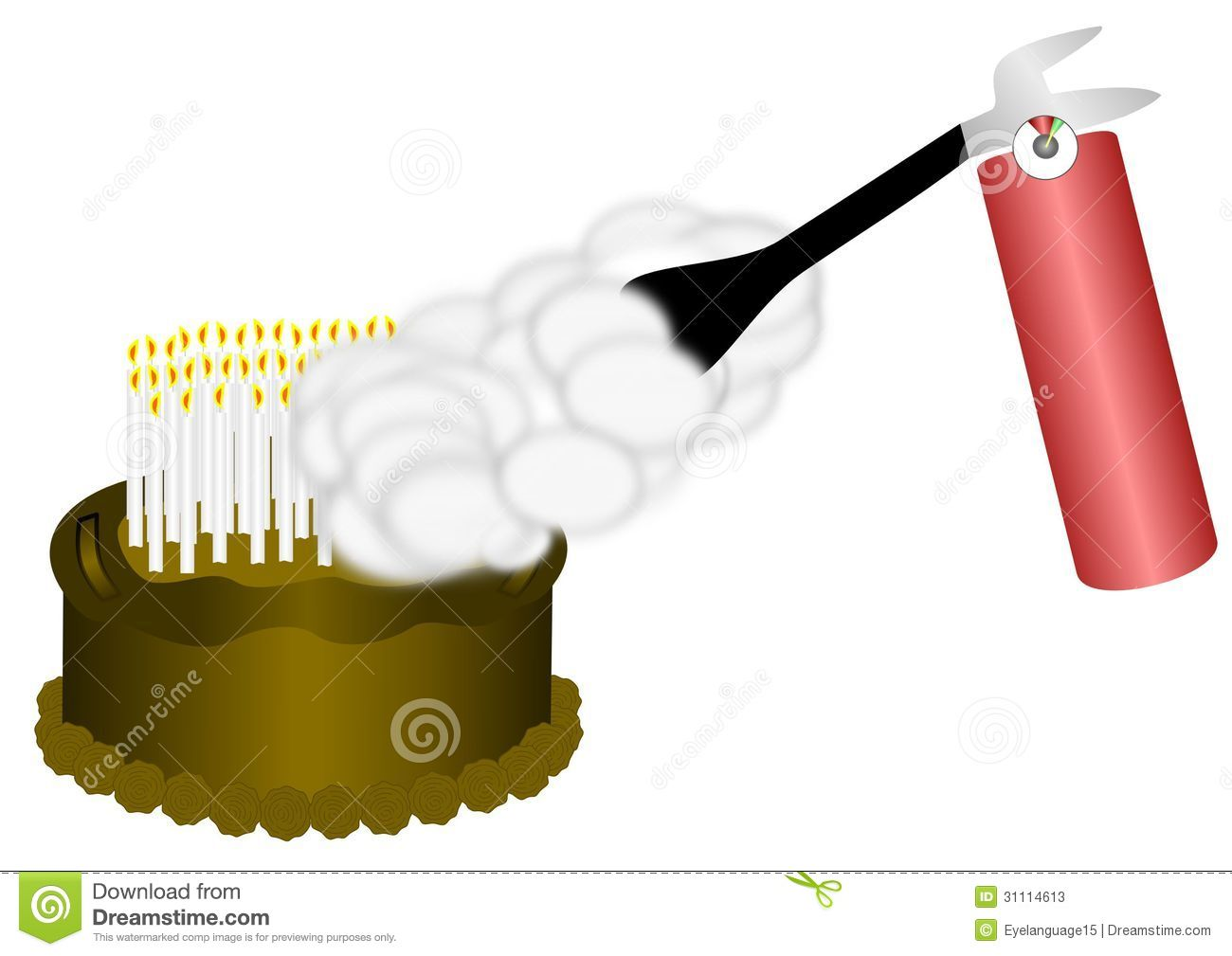 birthday cake on fire clipart ; fire-extinguisher-birthday-cake-used-to-put-out-many-candles-31114613