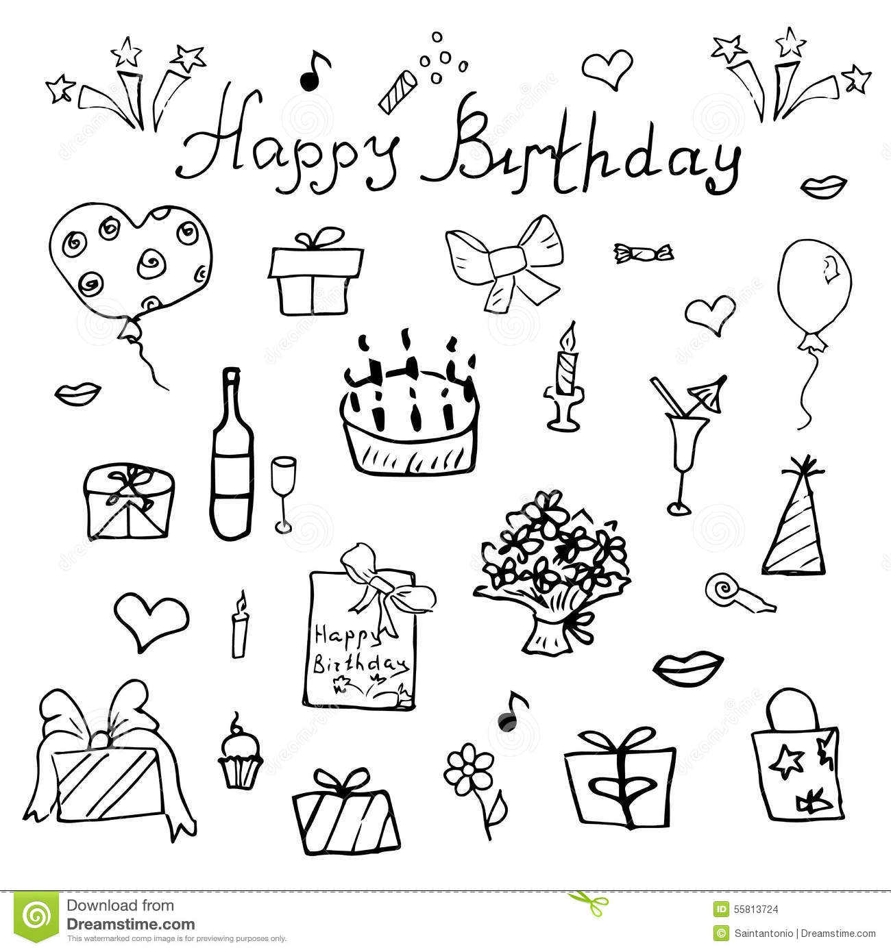 birthday cake simple drawing ; birthday-elements-hand-drawn-set-birthday-cake-balloons-gift-festive-attributes-children-drawing-doodle-collection-i-55813724