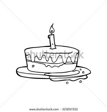birthday cake simple drawing ; stock-vector-simple-black-and-white-line-drawing-cartoon-cake-323057252