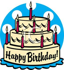 birthday cake with candles clipart ; A_three_tiered_birthday_cake_with_red_candles_101006-233972-771009