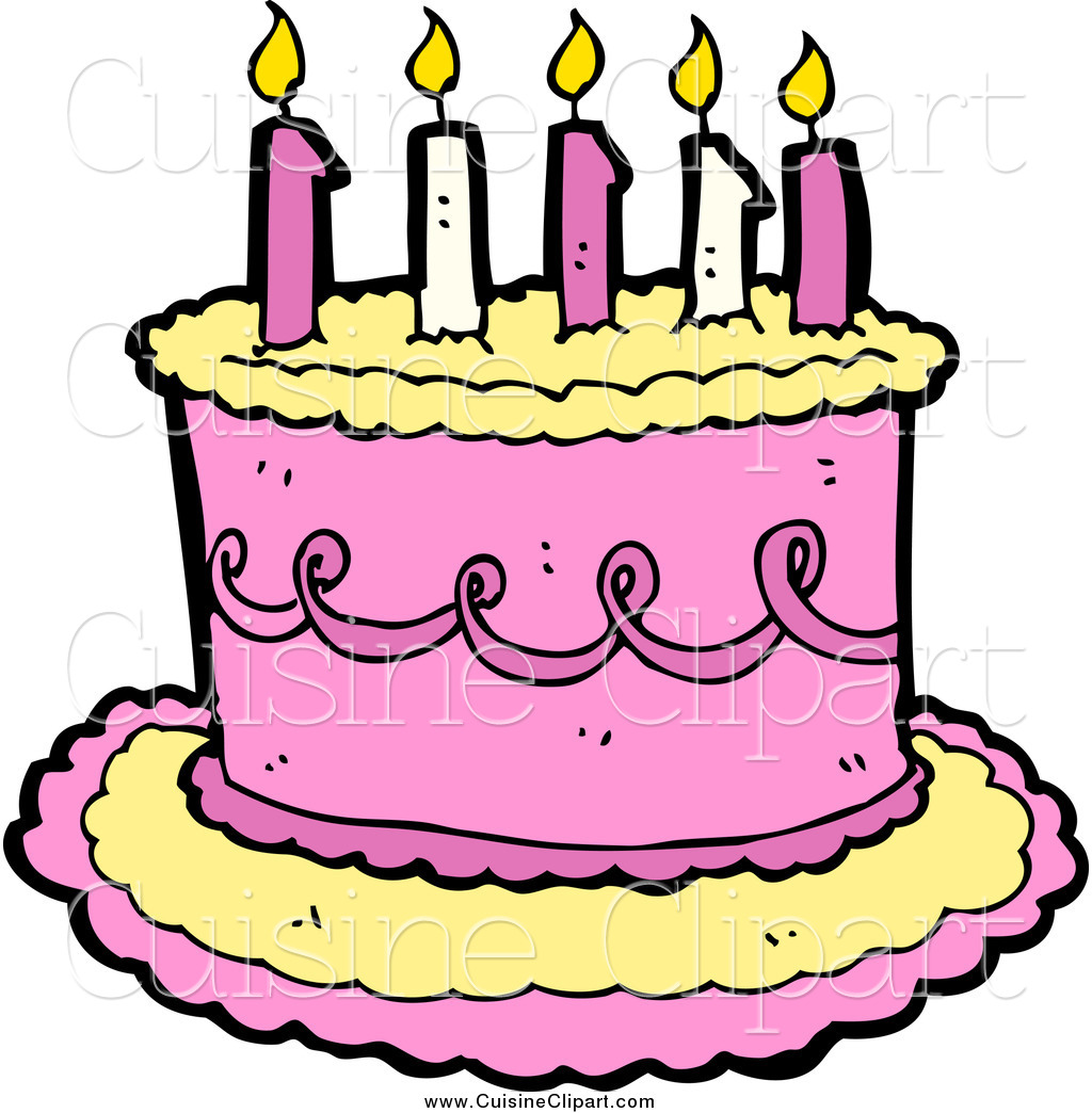 birthday cake with candles clipart ; cuisine-clipart-of-a-yellow-and-pink-birthday-cake-with-candles-by-lineartestpilot-20017