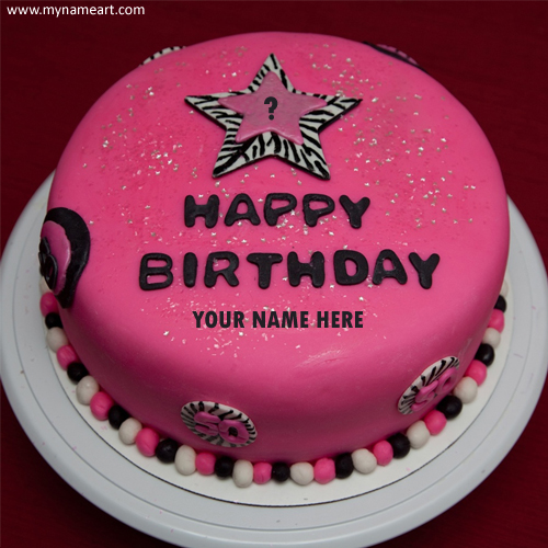birthday cake with my picture ; write-name-on-birthday-pink-cake