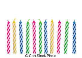birthday candle border ; isolated-colorful-birthday-candles-stock-photo_csp6216024