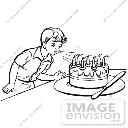 birthday candle clipart black and white ; 61798-clipart-of-a-retro-boy-blowing-out-birthday-cake-candles-in-black-and-white---royalty-free-vector-illustration-by-jvpd