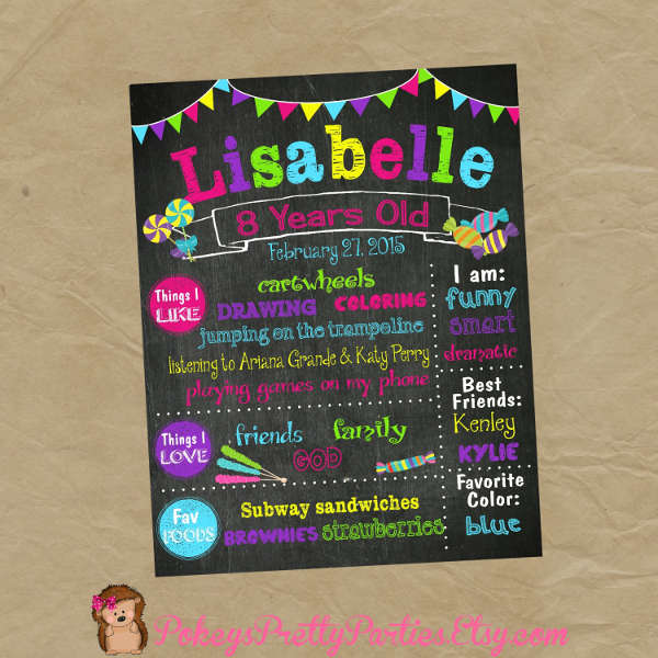 birthday candy poster for best friend ; Birthday-Party-Candy-Poster
