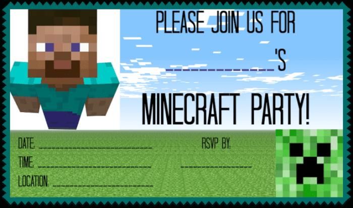 birthday card for 8 year old boy printable ; Minecraft-Party-Invite