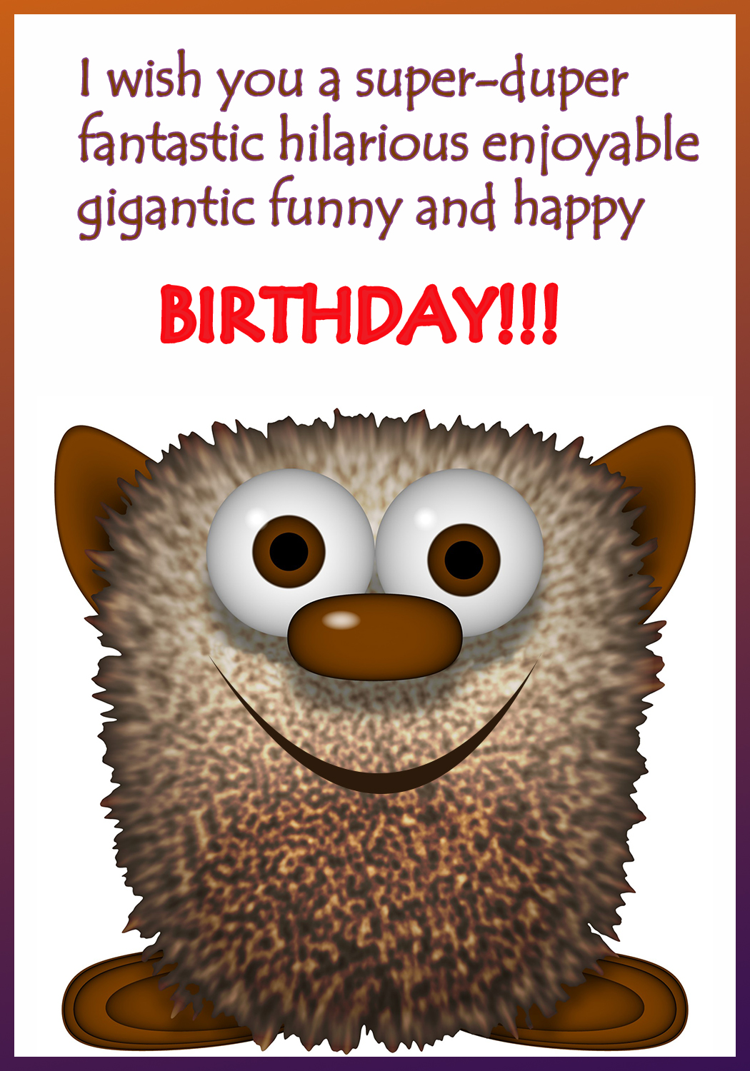 birthday card for 8 year old boy printable ; funny-monster-birthday-greeting-card