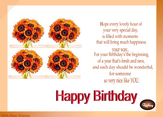 birthday card greeting ideas ; birthday-card-messages-for-girlfriend-rectangle-landscape-cream-white-orange-sunflower-picture-beautiful-poetic-wording-birthday-wishes-for-girlfriend-messages