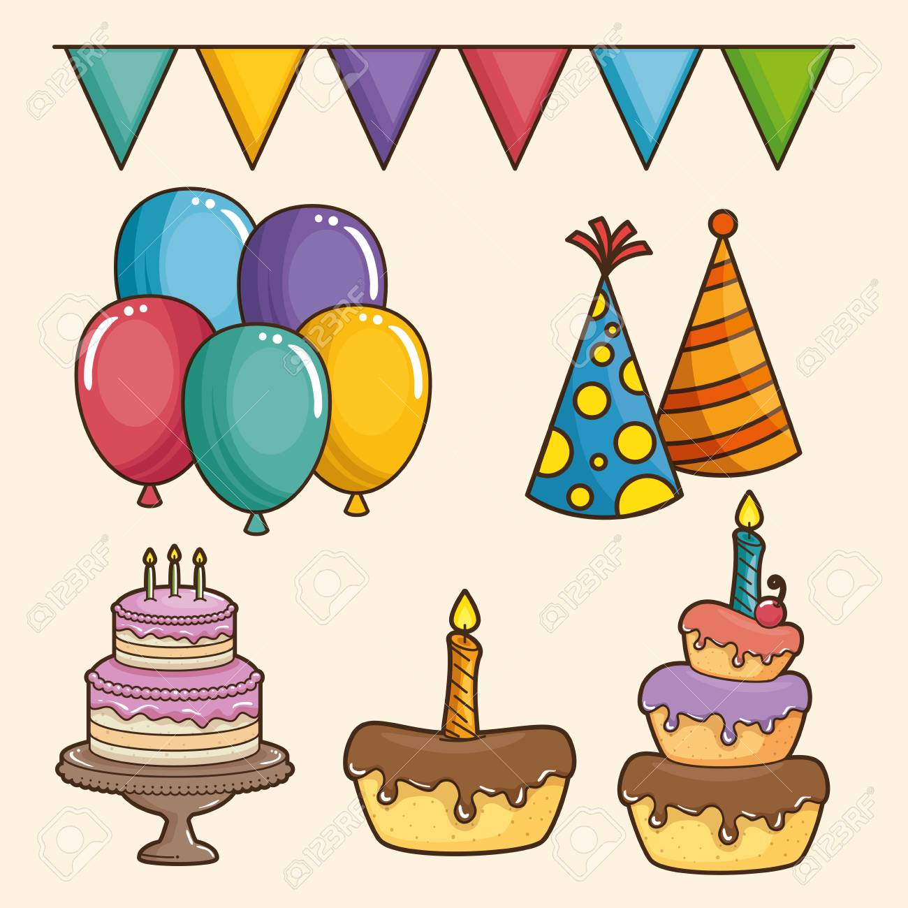 birthday celebration theme ; 84709587-cake-balloons-pennant-and-party-hat-of-happy-birthday-and-celebration-theme-vector-illustration