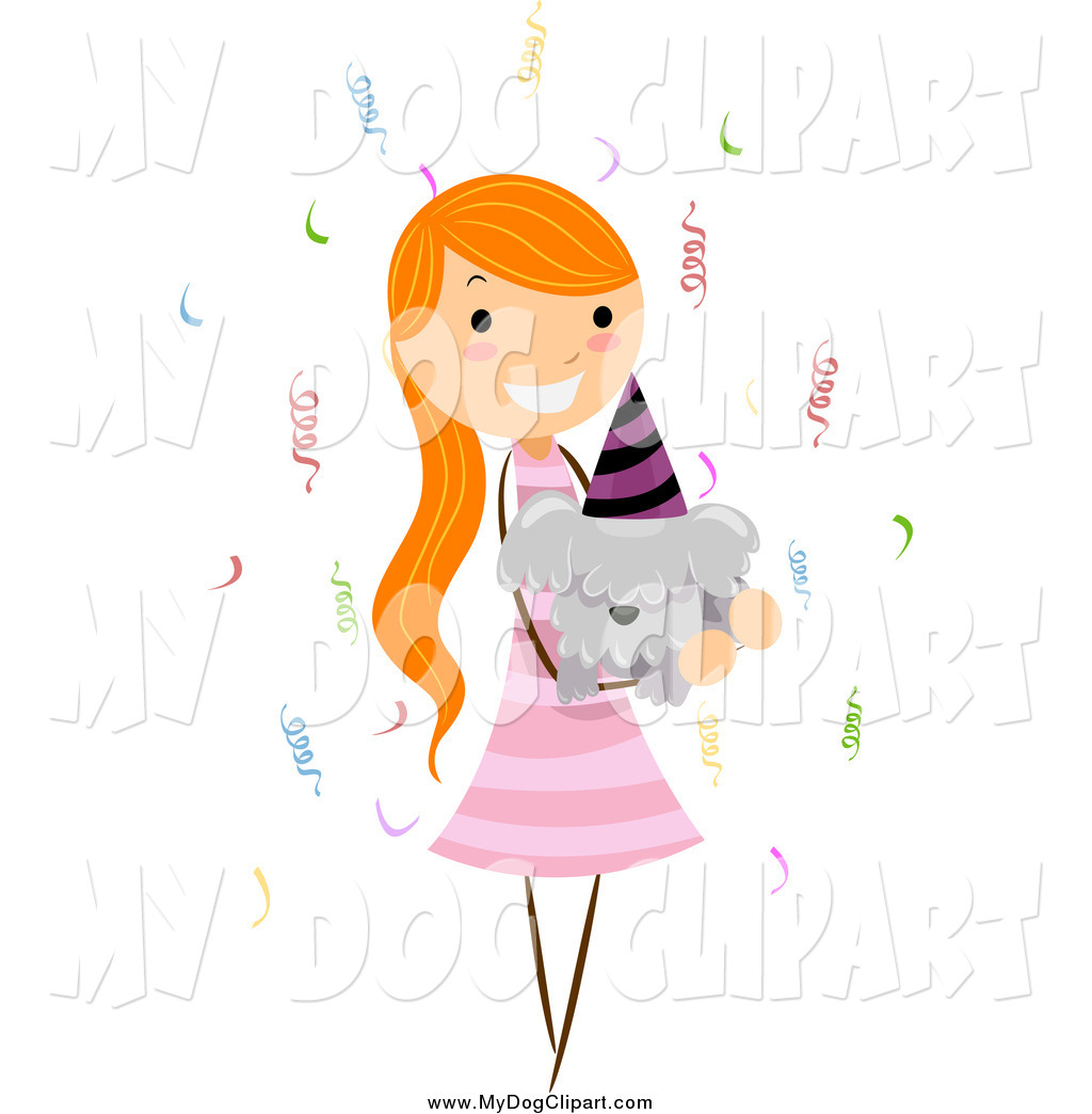 birthday clipart for her ; clip-art-of-a-red-haired-girl-holding-her-birthday-dog-by-bnp-design-studio-3600