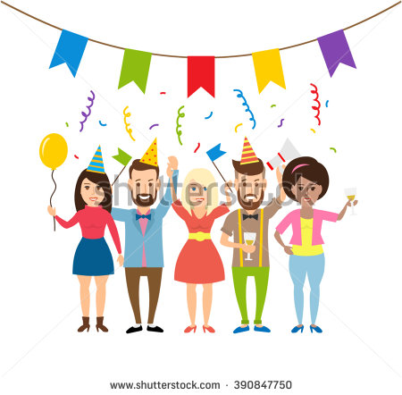 birthday clipart for women ; stock-vector-happy-young-people-on-the-party-concept-illustration-young-men-and-women-with-flags-balloon-390847750
