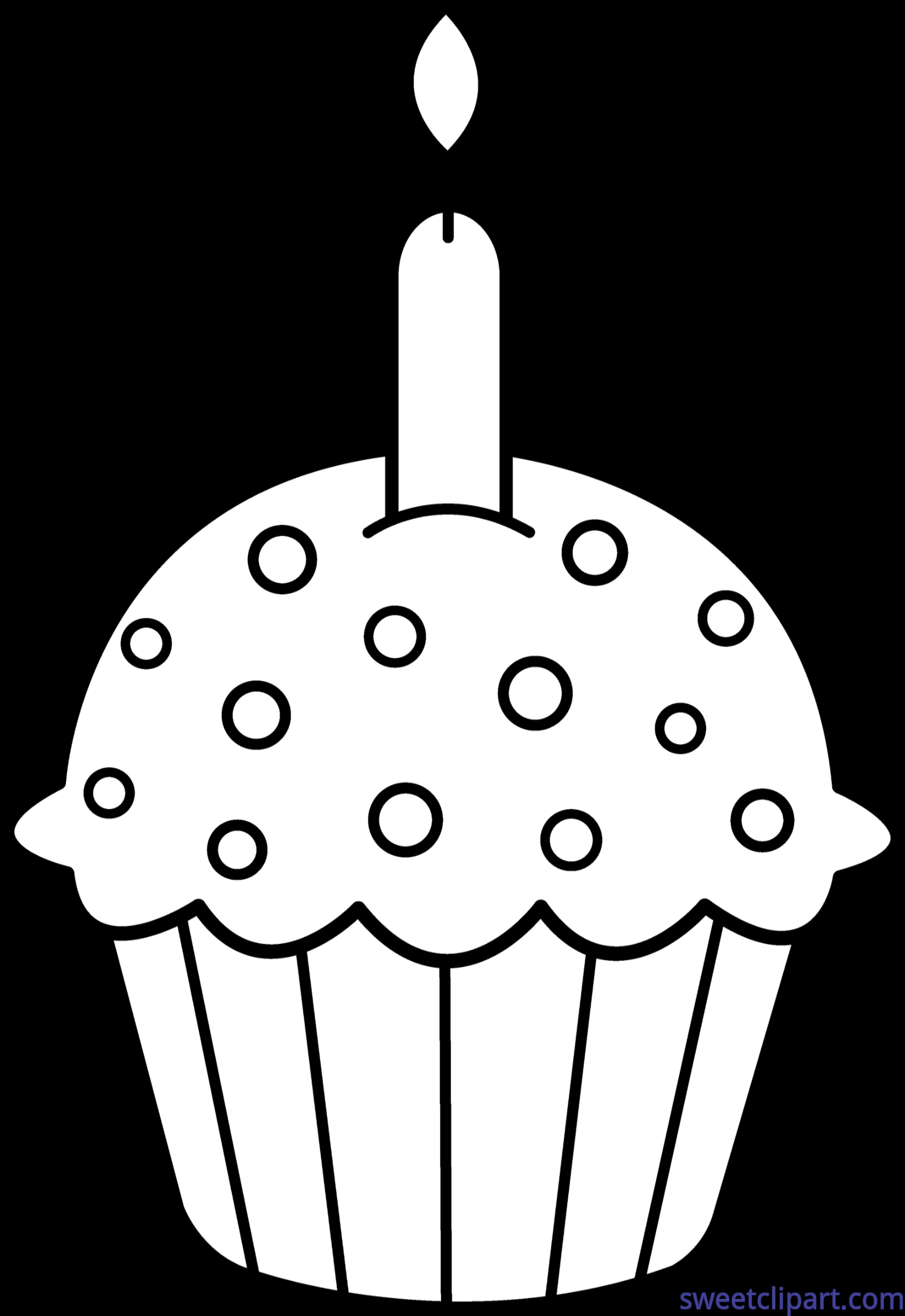 birthday cupcake coloring ; Birthday-Cupcake-Coloring-Page-Clip-Art