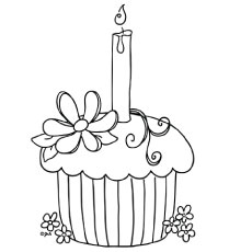 birthday cupcake coloring ; birthday-cupcake