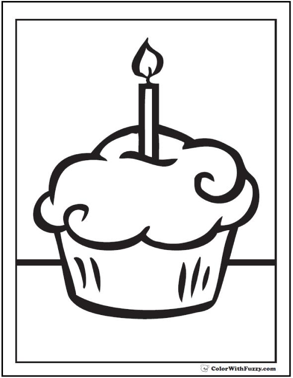 birthday cupcake coloring ; candle-and-cupcake-coloring-pages