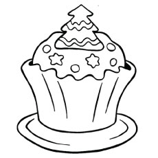 birthday cupcake coloring ; christmas-cupcake